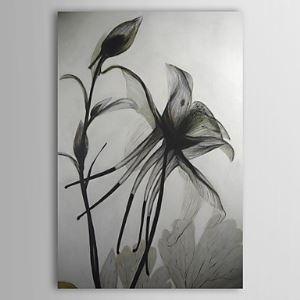 油絵画 手描き黒と白の花柄画 1210-FL0007