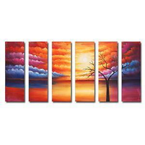 油絵画 手描き風景画 6個セット