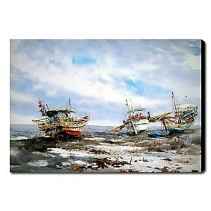 油絵画 手描き風景画 海船 1211-LS0188