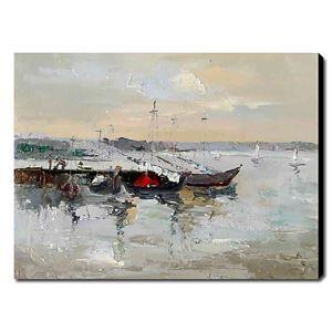 油絵画 手描き風景画 海船 1211-LS0192