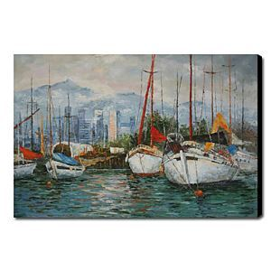 油絵画 手描き風景画 海船 1211-LS0209