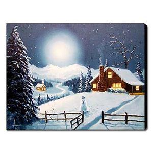 油絵画 手描き雪の風景画 1210-LS0007