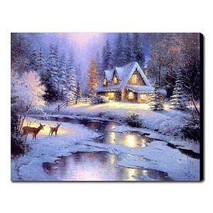油絵画 手描き冬の風景画 1210-LS0009