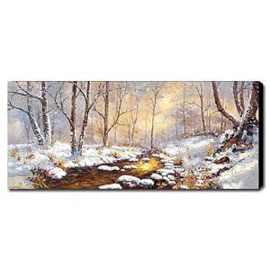 油絵画 手描き風景画 雪 1211-LS0155