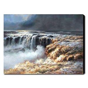 油絵画 手描き風景画 滝 1211-LS0178