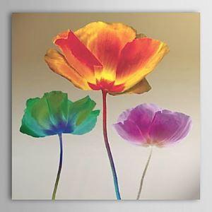 油絵画 手描き蓮の花画 フレームなし