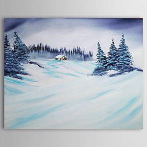 油絵画 手描き雪の風景画 1210-LS0003