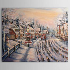 油絵画 手描き雪の風景画 フレームなし 1210-LS0005