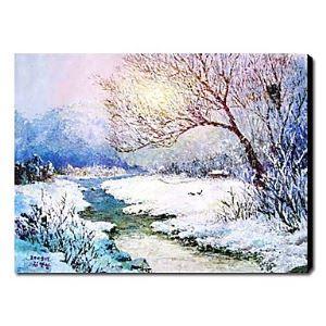 油絵画 手描き雪の風景画 1210-LS0008