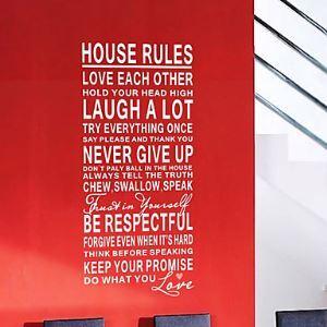 ウォールステッカー 転写式ステッカー PVCシール 壁紙シート 剥がせる 家の規則&芸術の言葉