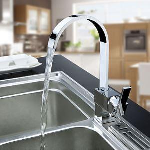 キッチン蛇口 台所蛇口 冷熱混合水栓 クロム