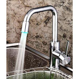 LEDキッチン蛇口 台所蛇口 冷熱混合水栓 クロム