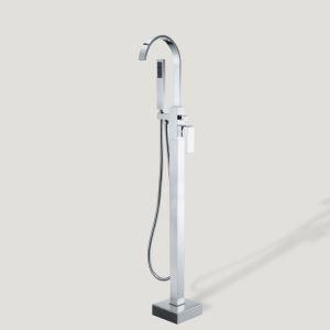 床置きシャワー水栓 床立ち上げ式浴槽蛇口 冷熱混合栓 ハンドシャワー付き
