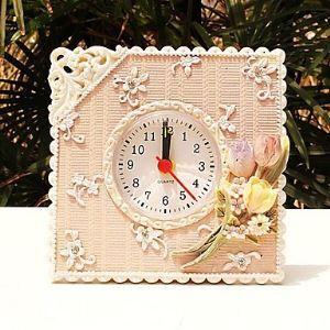 壁掛け時計 ピンク ポリレジン