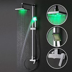 LEDレインシャワーシステム LEDヘッドシャワー+7色LEDハンドシャワー クロム