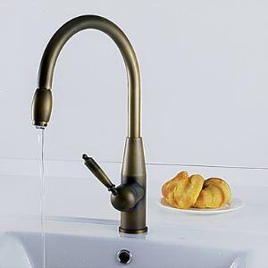 キッチン蛇口 台所蛇口 冷熱混合水栓 ブロンズ色