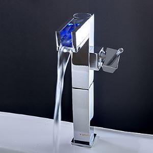 3色LEDバス・洗面蛇口 水流発電 温度センサー付 (高さ)