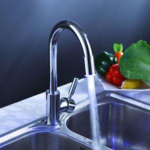 LEDキッチン蛇口 台所水栓 冷熱混合水栓 クロム