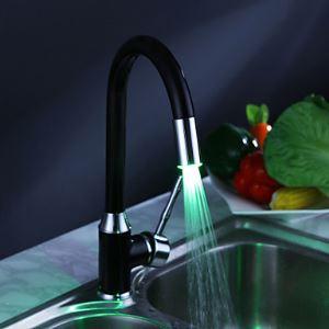 LEDキッチン蛇口 台所蛇口 冷熱混合水栓 ブラック