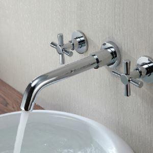 壁付水栓 バス水栓 洗面蛇口 冷熱混合栓 2ハンドル クロム