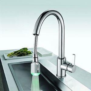 LEDキッチン蛇口 台所水栓 引出し式水栓 冷熱混合水栓 クロム