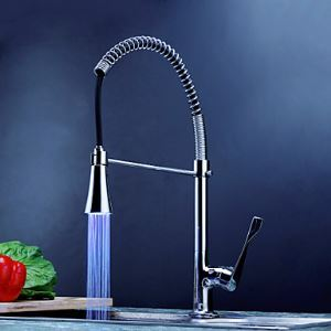 3色LEDキッチン蛇口 台所蛇口 冷熱混合水栓 クロム