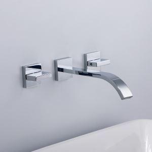 壁付水栓 洗面蛇口 バス水栓 冷熱混合栓 水道蛇口 2ハンドル