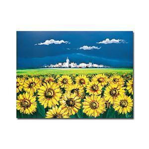 油絵画 手描き「ひまわり」画植物画