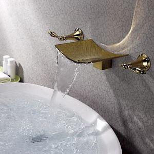 壁付水栓 バス水栓 洗面蛇口 2ハンドル混合栓 TI-PVD