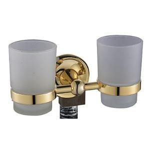 歯ブラシホルダー 歯ブラシスタンド カップ付き 収納 真鍮製 金色 Ti-PVD