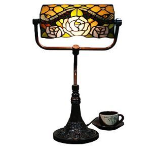 テーブルランプ ティファニーライト ステンドグラスランプ 卓上照明 バラ柄 2灯 40cm