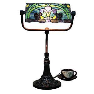 テーブルランプ ティファニーライト ステンドグラスランプ 卓上照明 紫ユリ柄 2灯 40cm