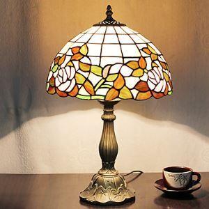 テーブルランプ ティファニーライト ステンドグラスランプ 卓上照明 2灯 D30cm