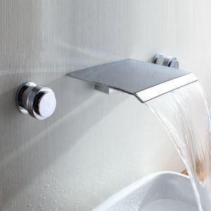 壁付水栓 洗面蛇口 バス蛇口 2ハンドル混合栓 滝状吐水口