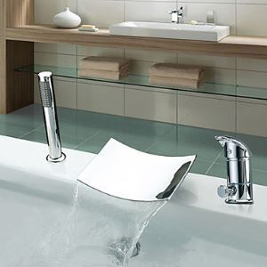 浴槽水栓 バス蛇口 シャワー水栓 ハンドシャワー付き 滝状吐水口