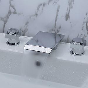 バス水栓 洗面蛇口 浴槽水栓 冷熱混合栓 水道蛇口 滝状吐水口 2ハンドル クロム