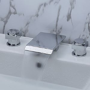 浴槽水栓 浴室用水栓 滝状吐水口 2ハンドル混合栓
