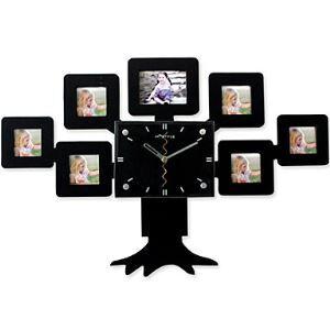 【壁掛け時計】フォトフレーム付写真7枚収納と時計が一体♪ ツリー