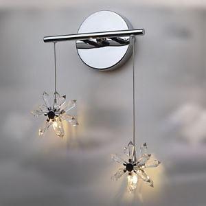 壁掛けライト ウォールランプ 玄関照明 クリスタル 花型 オシャレ 2灯