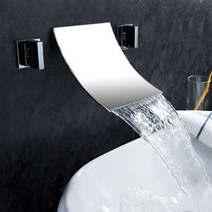 壁付水栓 バス水栓 2ハンドル混合栓 滝状吐水口