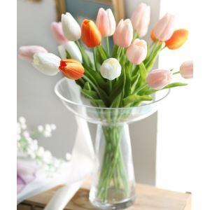 造花 チューリップ ガラス花瓶付き