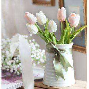 造花チューリップセラミック花瓶付き