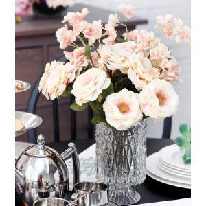 造花 桜&バラ 小さなクリスタル花瓶付き