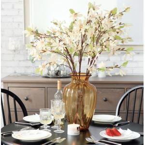 造花 マグノリア 小さなガラス花瓶付き