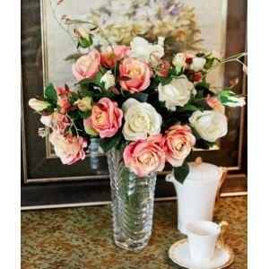 造花 クリスタル花瓶付き