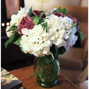 造花 スコットランドアジサイ&ラナンキュラス ガラス花瓶付き (中サイズ)