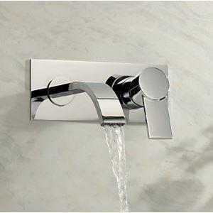 壁付水栓 バス水栓 洗面蛇口 ハンドル別掛け 滝状吐水口