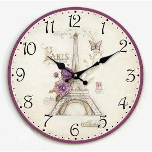 壁掛け時計 静音時計 エッフェル塔柄 北欧風