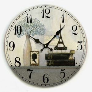 壁掛け時計 静音時計 カントリースタイル ラベンダー