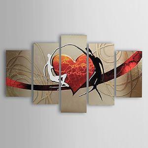 油絵画 手描き抽象画 ファン・ゴッホの手描き「愛」画5枚セット 1302-AB0310